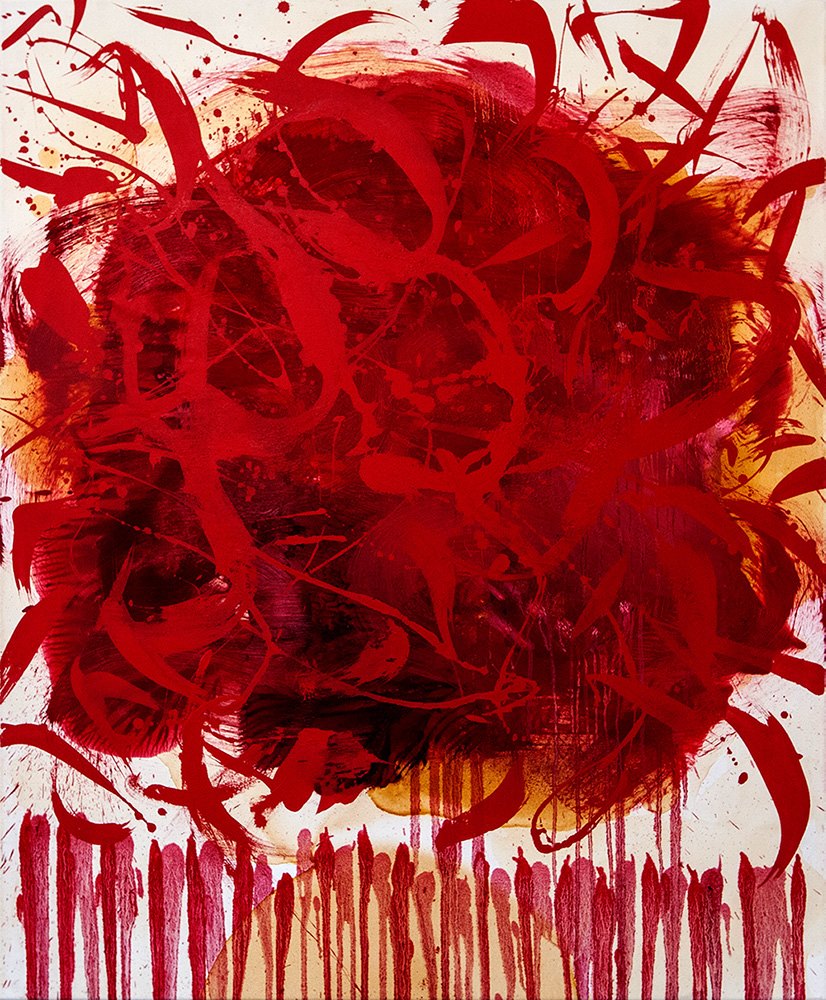 Rot, Rot, Gold. 2018 Öl, Acryl, Schellack auf Leinwand, 100x120cm